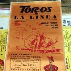 Tauromaquia: CARTEL DE TOROS EN SEDA LA LINEA GRAN FERIA DE JULIO 1966. Lote 80272353