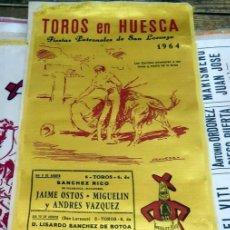 Tauromaquia: CARTEL DE SEDA. PLAZA DE TOROS DE HUESCA. 1964, FIESTAS DE SAN LORENZO, 17X34 CMS. Lote 127153516