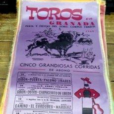 Tauromaquia: CARTEL DE SEDA, TOROS EN GRANADA, FERIA Y FIESTAS CORPUS CHRISTI 1968, 24X50 CM. . Lote 127153980