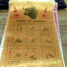 Tauromaquia: CARTEL DE TOROS EN MADRID. EN SEDA. 1952,24X50 CMS. Lote 80281361