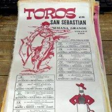 Tauromaquia: CARTEL DE TOROS EN SEDA SAN SEBASTIAN SEMANA GRANDE VERANO 1968 ,50X25 CMS. Lote 80281785