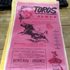Tauromaquia: CARTEL DE TOROS EN SEDA, EN JEREZ AÑO 1966. HOMENAJE AL MAESTRO ANTONIO BIENVENIDA EN SU DESPEDIDA,. Lote 80458401