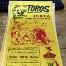 Tauromaquia: CARTEL DE TOROS EN SEDA, FERIA DE MAYO DE JEREZ DE LA FRONTERA,1966, 24X50 CMS. Lote 80459085