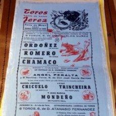 Tauromaquia: CARTEL DE TOROS EN SEDA. PLAZA DE JEREZ X FERIA DE MAYO . AÑO 1957,17X35 CMS. Lote 80491605