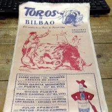 Tauromaquia: CARTEL TOROS EN BILBAO. AÑO 1961. IMPRESO EN SEDA TAMAÑO 24X50 CM. PUBLICIDAD JEREZ TIO PEPE. Lote 80496209