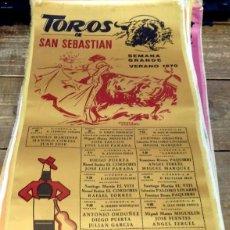 Tauromaquia: CARTEL EN SEDA, PLAZA DE TOROS DE SAN SEBASTIAN SEMANA GRANDE, 1970, 24X49 CMS. Lote 127153574