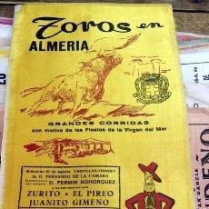 Tauromaquia: CARTEL DE TOROS EN SEDA, ALMERIA 1963, FIETAS DE LA VIRGEN DEL MAR, 15X36 CMS. Lote 127153686