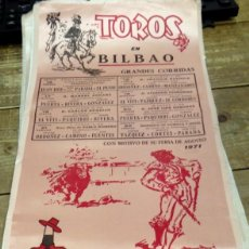 Tauromaquia: CARTEL DE TOROS EN SEDA, GRANDES CORRIDAS BILBAO, 1971, 23X49 CMS. Lote 127153711