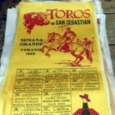 Tauromaquia: CARTEL TOROS SEDA SAN SEBASTIAN AÑO 1969,24X49 CMS. Lote 80592970