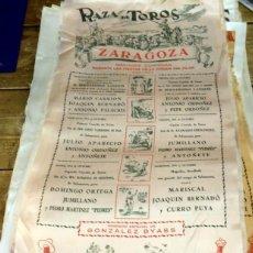 Tauromaquia: CARTEL EN SEDA PLAZA DE TOROS ZARAGOZA. VIRGEN DEL PILAR. AÑO 1954. Lote 136483977