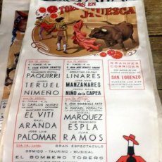 Tauromaquia: CARTEL DE SEDA, TOROS EN HUESCA, 1978, PAQUIRRI, ESPLA, MANZANARES, CAPEA, ETC..25X45 CMS. Lote 80638854