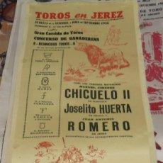 Tauromaquia: CARTEL EN SEDA PLAZA DE TOROS JEREZ. AÑO 1956,16X34CMS. Lote 80639710