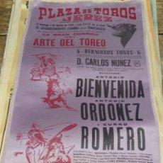 Tauromaquia: CARTEL DE SEDA. PLAZA DE TOROS DE JEREZ. 1965. BIENVENIDA. ORDOÑEZ. CURRO ROMERO.20X42CMS. Lote 80649978