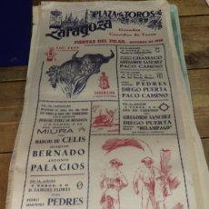 Tauromaquia: CARTEL DE TOROS DE SEDA, FIESTAS DEL PILAR, ZARAGOZA, 1960,23X49 CMS. Lote 80801447