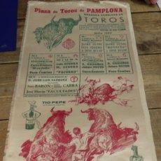 Tauromaquia: CARTEL PLAZA DE TOROS DE PAMPLONA. FIESTAS DE SAN FERMIN. EN SEDA. AÑO 1960,23X49 CMS. Lote 80802371
