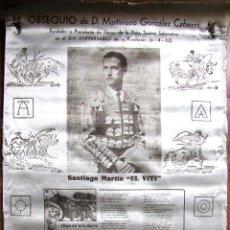 Tauromaquia: CARTEL EN SEDA OBSEQUIO DE MARTINIANO GONZALEZ CABEZAS EN EL XIV ANIVERSARIO PEÑA EL VITI.. Lote 81026048