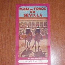 Tauromaquia: ENTRADA PLAZA DE TOROS DE SEVILLA. TENDIDO 5 SOMBRA. 21 ABRIL 1956. 140 PTAS.. Lote 82832052