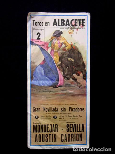 CARTEL PLAZA TOROS ALBACETE ANTONIO MONDEJAR-RICARDO SEVILLA-AGUSTÍN CARRIÓN. GANADERÍA CAJO AÑOS 80 (Coleccionismo - Tauromaquia)