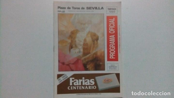 PROGRAMA OFICIAL DE LA PLAZA DE TOROS DE SEVILLA DEL AÑO 90 (Coleccionismo - Tauromaquia)