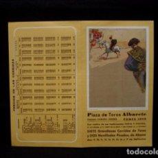 Tauromaquia: PROGRAMA PLAZA TOROS FERIA ALBACETE-CANO-JOSELITO-ESPARTACO-ESPLA-LITRI-CAMINO-OLIVA-AÑOS 80. Lote 86919184