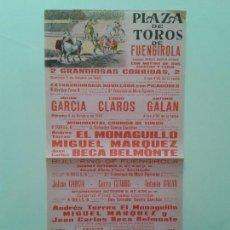 Tauromaquia: CARTEL PLAZA TOROS DE FUENGIROLA AÑO 1969 EL MONAGUILLO MIGUEL MARQUEZ BECA BELMONTE. Lote 89480156