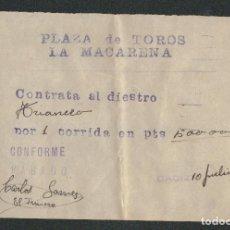 Tauromaquia: CONTRATO DEL TORERO CARLOS GOMEZ ( TRIANERO ) PARA UNA CORRIDA EN LA PLAZA DE TOROS LA MACARENA.. Lote 89859556