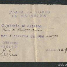 Tauromaquia: CONTRATO DEL TORERO NIÑO DE BAJO DE GUIA, PARA UNA CORRIDA EN LA PLAZA DE TOROS LA MACARENA.. Lote 89859864