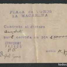 Tauromaquia: CONTRATO DEL TORERO RAFAEL GOMEZ ( ANGELOTE), PARA DOS CORRIDAS EN LA PLAZA DE TOROS LA MACARENA.. Lote 89860000