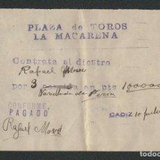 Tauromaquia: CONTRATO DEL TORERO RAFAEL ?, PARA TRES CORRIDAS EN LA PLAZA DE TOROS LA MACARENA.. Lote 89860372