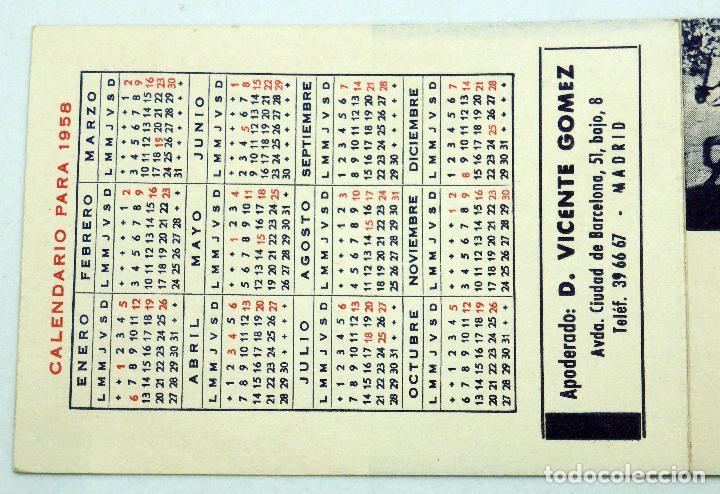 Calendario 1958.Calendario 1958 Publicidad Empresario Taurino Vicente Gomez Rejoneador Carlos San Segundo