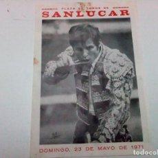 Tauromaquia: CARTEL PEQUEÑO DE LA PLAZA DE TOROS DE SANLÚCAR DEL AÑO 1971, MIDE 24 X 17 CM. Lote 92857560