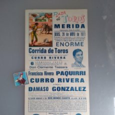 Tauromaquia: CARTEL PLAZA TOROS DE MÉRIDA. 1971. Lote 93090394