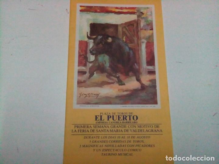 DÍPTICO DE LA FERIA DE SANTA MARÍA DE VALDELAGRANA , PLAZA DE TOROS DEL PUERTO (Coleccionismo - Tauromaquia)
