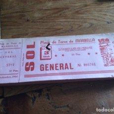 Tauromaquia: TALONARIO DE ENTRADAS DE TOROS MARBELLA 1966 CON 100 ENTRADAS. Lote 96451458