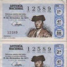 Tauromaquia: PAREJA DECIMOS DE LOTERIA TEMA TOROS - 1971 - DEL TORERO CURRO CUCHARES. Lote 96507079