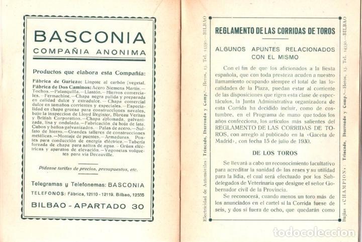 Tauromaquia: PROGRAMA OFICIAL BILBAO. AÑO 1936. SANTO HOSPITAL CIVIL Y SANTA CASA DE MISERICORDIA - Foto 3 - 98939195