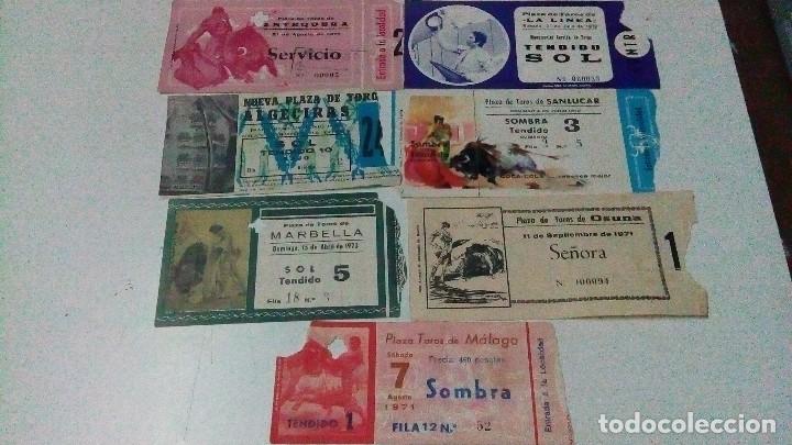 7 ENTRADAS DE TOROS DE LOS 70, DE, MÁLAGA, MARBELLA, OSUNA, ALGECIRAS, ANTEQUERA, SANLÚCAR, LA LÍNEA (Coleccionismo - Tauromaquia)