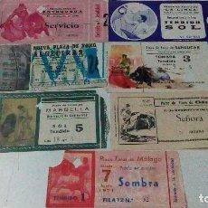 Tauromaquia: 7 ENTRADAS DE TOROS DE LOS 70, DE, MÁLAGA, MARBELLA, OSUNA, ALGECIRAS, ANTEQUERA, SANLÚCAR, LA LÍNEA. Lote 99904675
