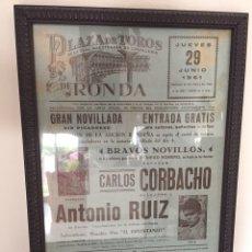 Tauromaquia: CARTEL TOROS RONDA. CARLOS CORBACHO ANTONIO RUIZ. Lote 100377984