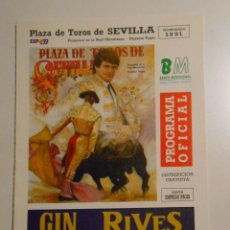 Tauromaquia: FOLLETO PROGRAMA PLAZA DE TOROS DE SEVILLA. REAL MAESTRANZA. CORRIDA 8 DE ABRIL DE 1991. TDKP2. Lote 102011631