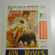Tauromaquia: PROGRAMA PLAZA DE TOROS DE SEVILLA REAL MAESTRANZA. 19 DE ABRIL DE 1991. CORRIDA. TDKP2. Lote 102012827
