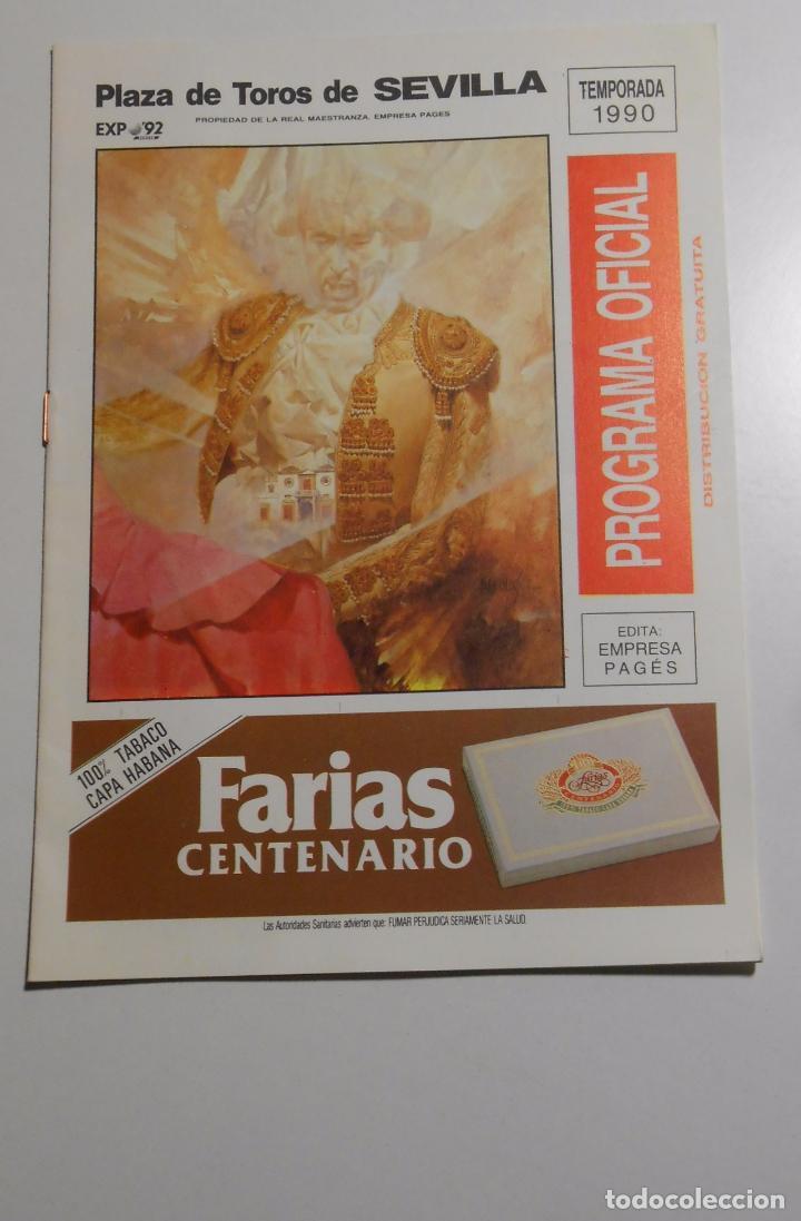 PROGRAMA PLAZA DE TOROS DE SEVILLA. CORRIDA DEL 30 DE ABRIL DE 1990. REAL MAESTRANZA. TDKP2 (Coleccionismo - Tauromaquia)