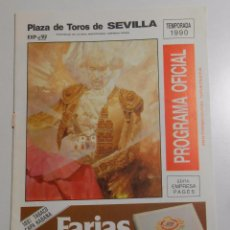Tauromaquia: PROGRAMA PLAZA DE TOROS DE SEVILLA. CORRIDA DEL 30 DE ABRIL DE 1990. REAL MAESTRANZA. TDKP2. Lote 102014259