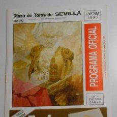 Tauromaquia: PROGRAMA PLAZA DE TOROS DE SEVILLA. CORRIDA DEL 29 DE ABRIL DE 1990. REAL MAESTRANZA. TDKP2. Lote 102014367