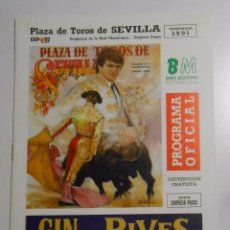 Tauromaquia: PROGRAMA PLAZA DE TOROS DE SEVILLA. CORRIDA DEL 20 DE ABRIL DE 1991. REAL MAESTRANZA. TDKP2. Lote 102014691