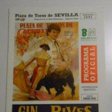 Tauromaquia: PROGRAMA PLAZA DE TOROS DE SEVILLA. CORRIDA DEL 16 DE ABRIL DE 1991. REAL MAESTRANZA. TDKP2. Lote 102014867