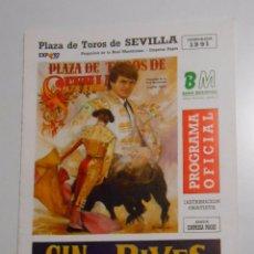 Tauromaquia: PROGRAMA PLAZA DE TOROS DE SEVILLA. CORRIDA DEL 31 DE MARZO DE 1991. REAL MAESTRANZA. TDKP2 . Lote 102017023