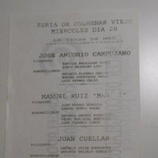 Tauromaquia: FERIA DE TOROS DE COLMENAR VIEJO. MIERCOLES DIA 28. TDKP2. Lote 102017099