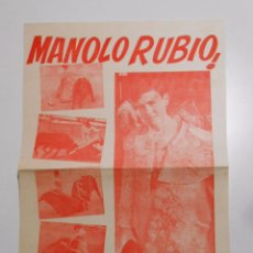 Tauromaquia: CARTEL DE MANOLO RUBIO. EL JOVEN NOVILLERO QUE CONQUISTA A LA AFICION NAVARRA. 1968. TDKP2. Lote 102017343