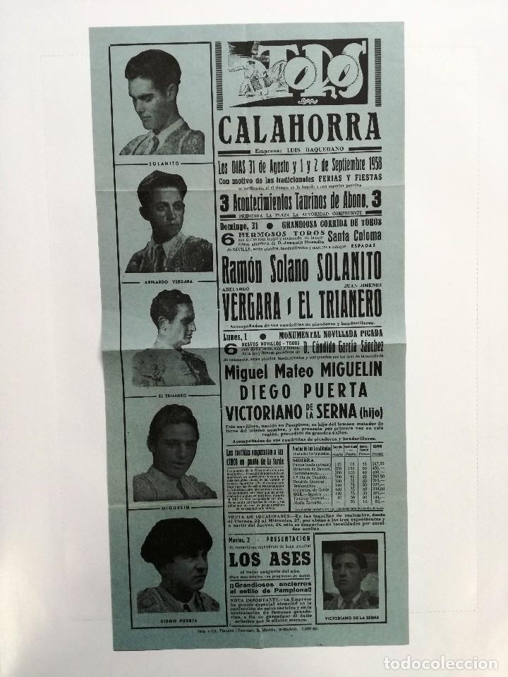 CARTEL DE TOROS CALAHORRA AGOSTO 1958.SOLANITO,AVELARDO VERGARA,EL TRIANERO,MIGUELIN,DIEGO PUERTA, (Coleccionismo - Tauromaquia)